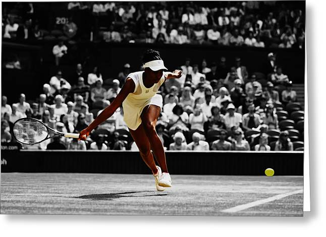 Venus Williams In Pursuit Greeting Card by Brian Reaves