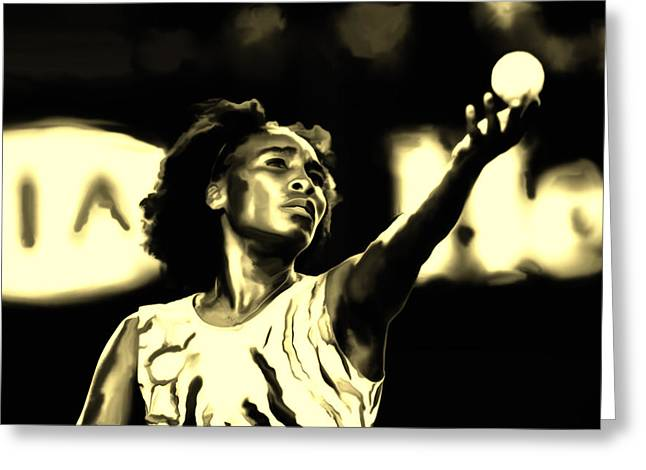 Us Open Mixed Media Greeting Cards - Venus Williams Match Point Greeting Card by Brian Reaves