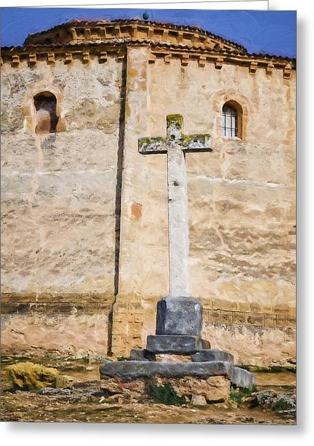 Medieval Temple Greeting Cards - Vera Cruz Cross Greeting Card by Joan Carroll
