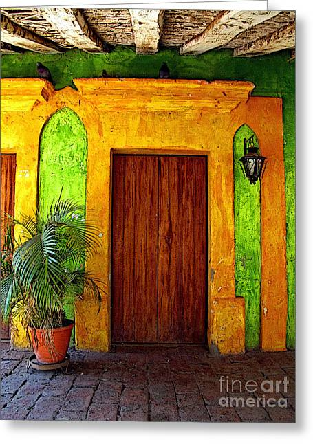 Portal Greeting Cards - Veranda El Quilete Greeting Card by Olden Mexico