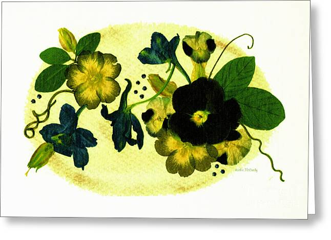 Primroses Mixed Media Greeting Cards - Veranda Greeting Card by Kathie McCurdy