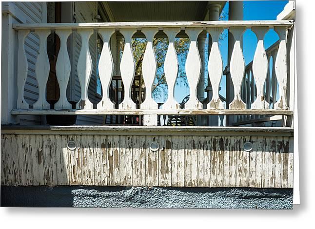Log Cabin Photographs Greeting Cards - Veranda Rail Detail on Farm House Greeting Card by Donald  Erickson
