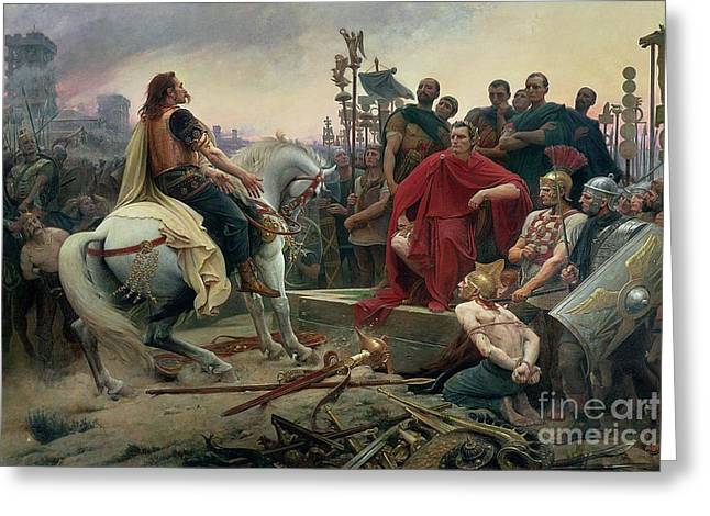 Roman Soldier Greeting Cards - Vercingetorix throws down his arms at the feet of Julius Caesar Greeting Card by Lionel Noel Royer