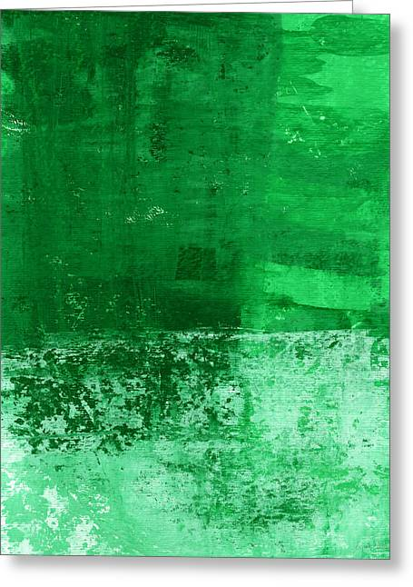 Bedroom Art Greeting Cards - Verde-  Contemporary Abstract Art Greeting Card by Linda Woods