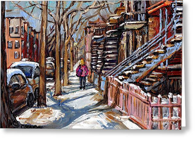 Verdun Connections Greeting Cards - Verdun Winter Street Scene Painting Blond Girl With Pink Coat Montreal Staircase Canadian Art Greeting Card by Carole Spandau