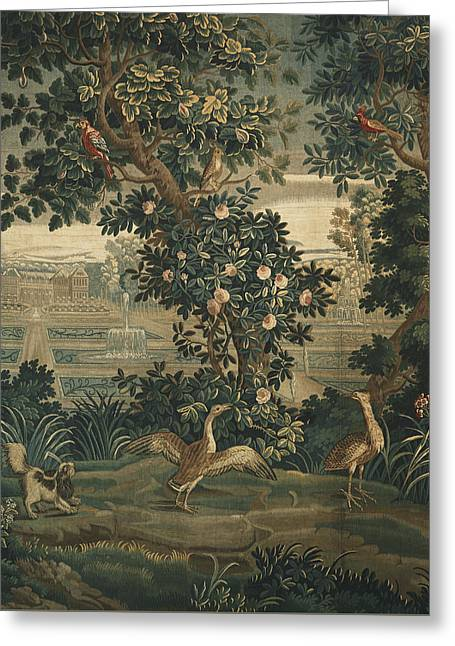 Dog Tapestries - Textiles Greeting Cards - Verdure with Chateau and Garden Greeting Card by  The Widow Guillaume Werniers