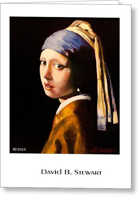 Girl With A Pearl Earring Greeting Cards - Vermeers Girl With A Pearl Earring Greeting Card by David Stewart