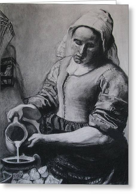 Old Pitcher Greeting Cards - Vermeers Milkmaid in Charcoal Greeting Card by Art Nomad Sandra  Hansen