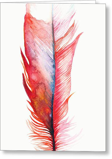 Vermilion Feather Greeting Card by Willow Heath