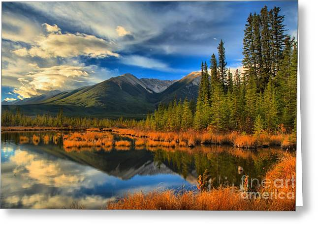 Rundle Greeting Cards - Vermilion Lakes Landscape Greeting Card by Adam Jewell