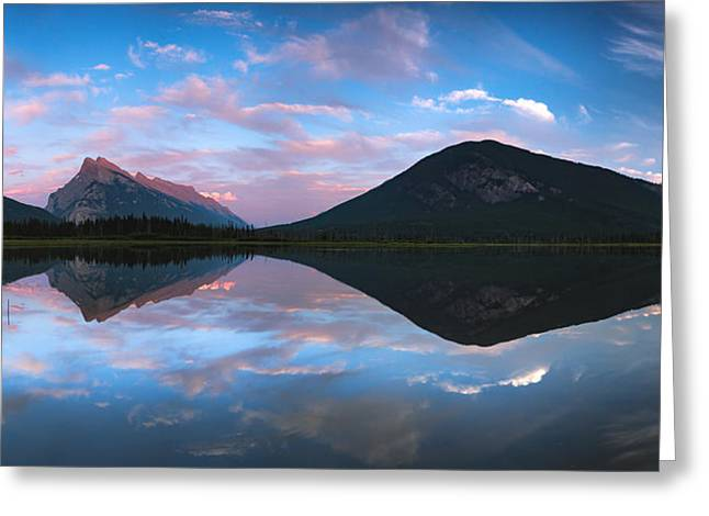 Rundle Greeting Cards - Vermilion Lakes Panorama Greeting Card by Cale Best