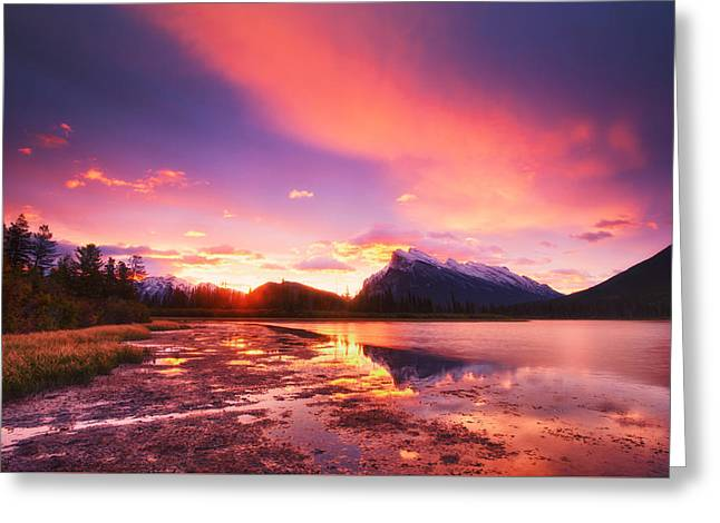 Snow Scene Landscape Greeting Cards - Vermilion Lakes Greeting Card by Ulrich Schade