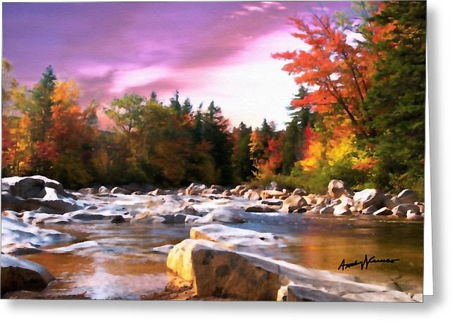 Stream Digital Greeting Cards - Vermont Autumn Greeting Card by Anthony Caruso