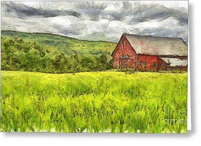 Vermont Farm Landscape Pencil Greeting Card by Edward Fielding