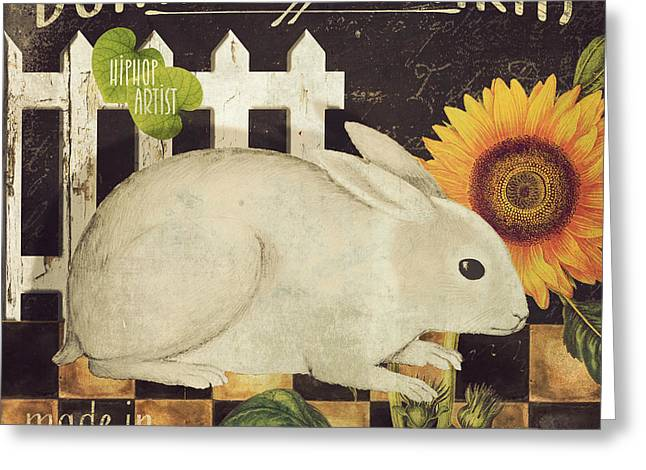 Sunflower Art Greeting Cards - Vermont Farms Bunny Rabbit Greeting Card by Mindy Sommers