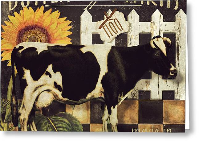 Moo Moo Greeting Cards - Vermont Farms Cow Greeting Card by Mindy Sommers
