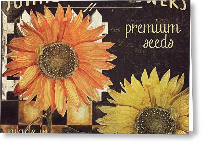 Yellow Sunflower Greeting Cards - Vermont Farms Sunflowers Greeting Card by Mindy Sommers