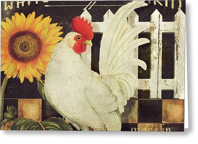 Vermont Rooster Greeting Cards - Vermont Farms White Rooster Greeting Card by Mindy Sommers