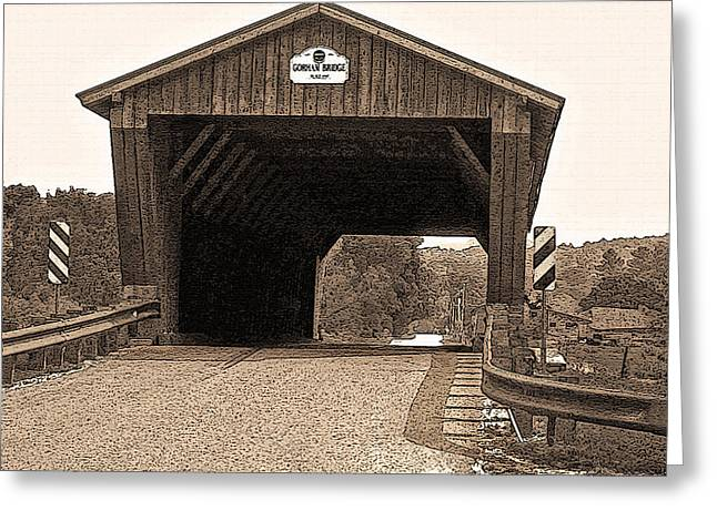 Old Roadway Greeting Cards - Vermont Gorham Bridge Greeting Card by Steve Ohlsen