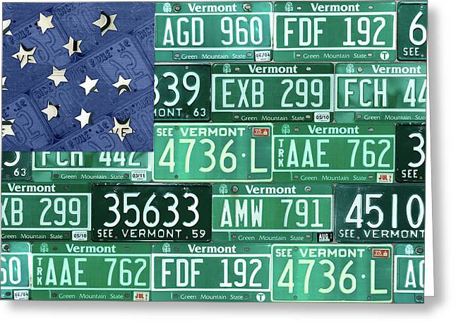 Vermont National Guard Flag Vintage Recycled License Plate Art Greeting Card by Design Turnpike