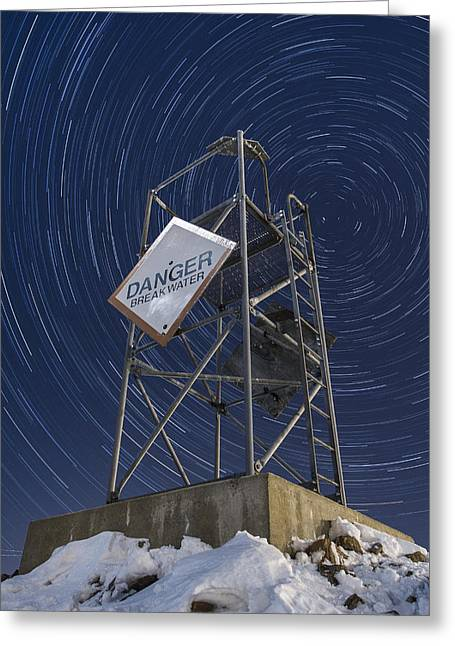 New England Snow Scene Greeting Cards - Vermont-Star trails-Tower-night-winter Greeting Card by Andy Gimino