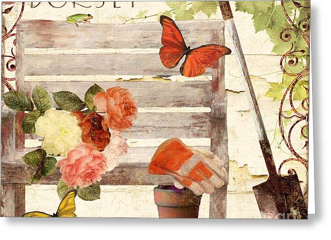 Glove Greeting Cards - Vermont Summer Park Bench Greeting Card by Mindy Sommers