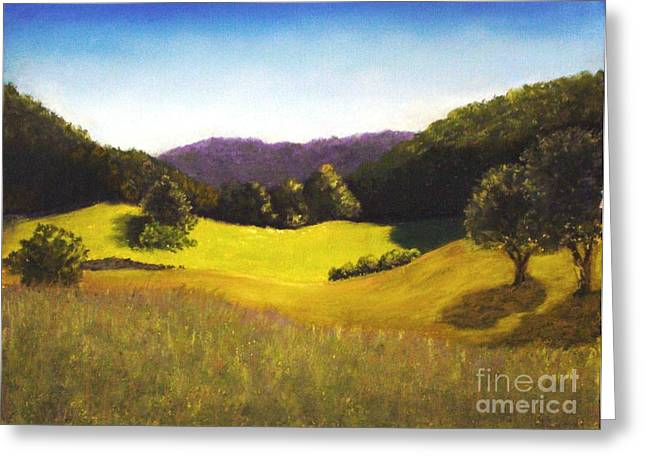 Fall Grass Pastels Greeting Cards - Vermont Vista Greeting Card by Lynda Evans