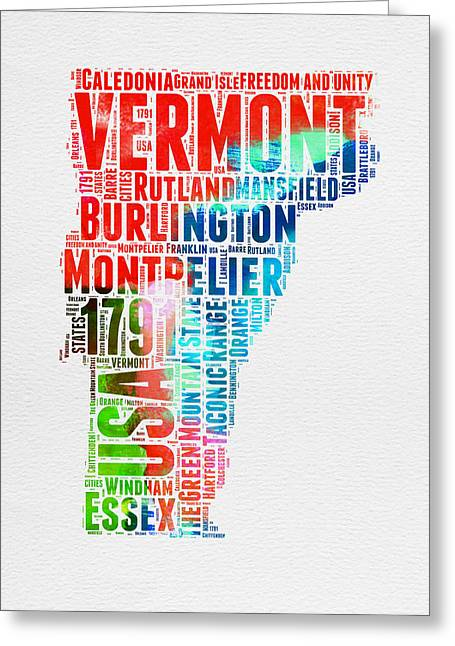 4th July Greeting Cards - Vermont Watercolor Word Cloud  Greeting Card by Naxart Studio