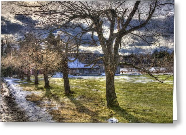 Snow Covered Field Greeting Cards - Vermont Winter Barn - Stowe Greeting Card by Joann Vitali