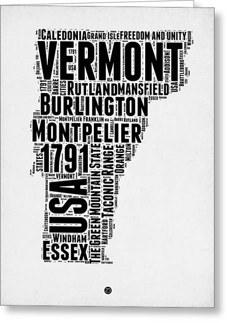 4th July Greeting Cards - Vermont Word Cloud 2 Greeting Card by Naxart Studio