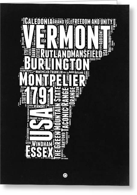Vermont Word Cloud Black And White Map Greeting Card by Naxart Studio