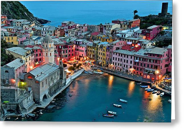 Small Fishing Village Greeting Cards - Vernazza After Sundown Greeting Card by Frozen in Time Fine Art Photography