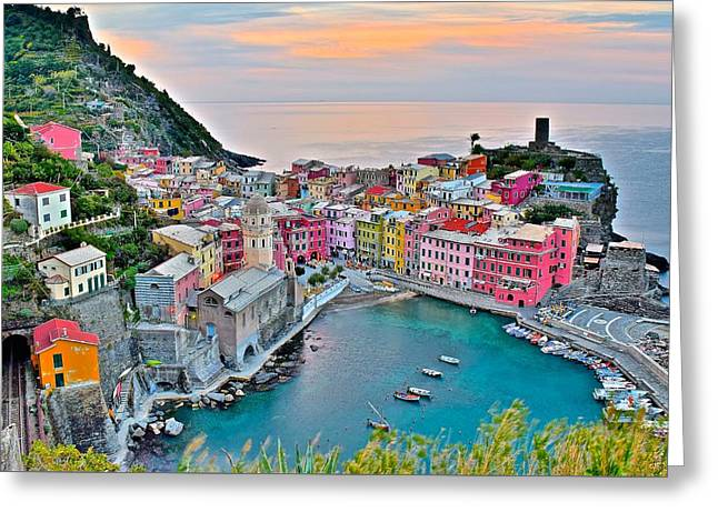 Vernazza At Daybreak Greeting Card by Frozen in Time Fine Art Photography