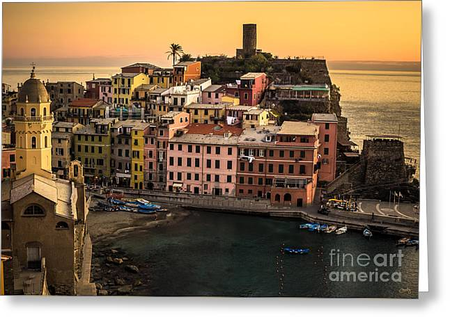 Charly Greeting Cards - Vernazza at Sunset Greeting Card by Prints of Italy