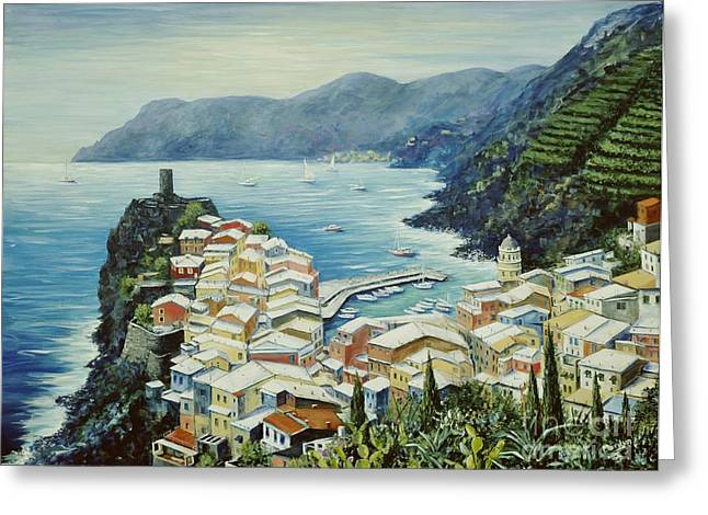 Landscape. Scenic Paintings Greeting Cards - Vernazza Cinque Terre Italy Greeting Card by Marilyn Dunlap