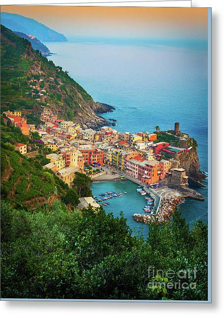 Historical Buildings Greeting Cards - Vernazza from above Greeting Card by Inge Johnsson