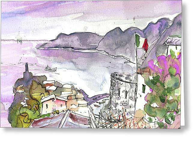 Townscape Drawings Greeting Cards - Vernazza in Italy 03 Greeting Card by Miki De Goodaboom