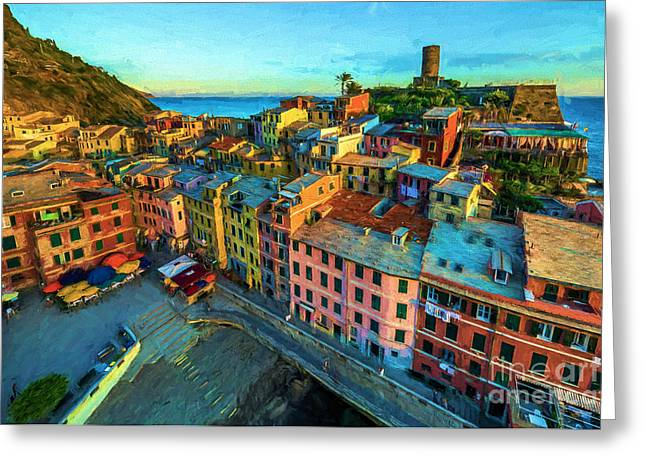 Panoramic Ocean Drawings Greeting Cards - Vernazza Italy Greeting Card by Evgeni Nedelchev