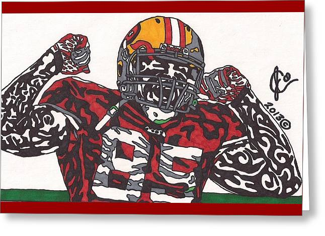 49ers Drawings Greeting Cards - Vernon Davis 1 Greeting Card by Jeremiah Colley