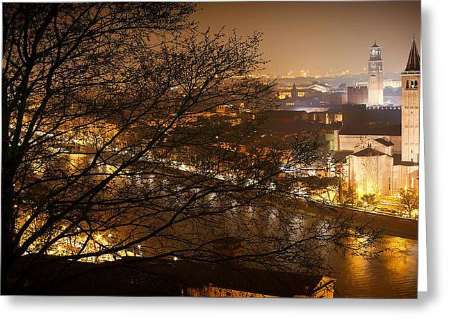 Italian Sunset Greeting Cards - Verona Evening Lights Greeting Card by Top View