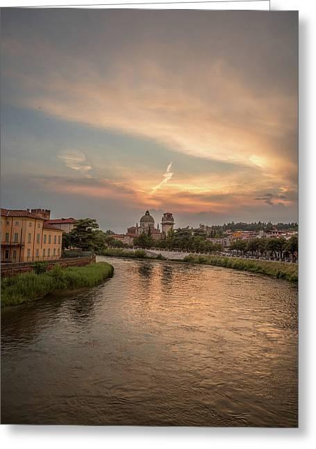 Italian Sunset Greeting Cards - Verona sunset Greeting Card by Chris Fletcher