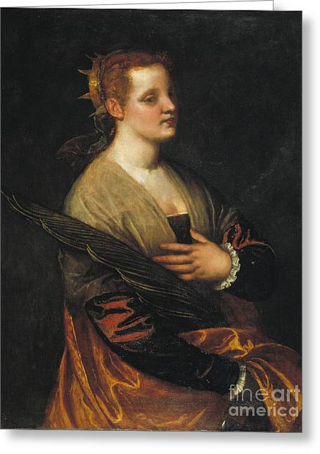 Veronese - Saint Catherine Greeting Card by MotionAge Designs