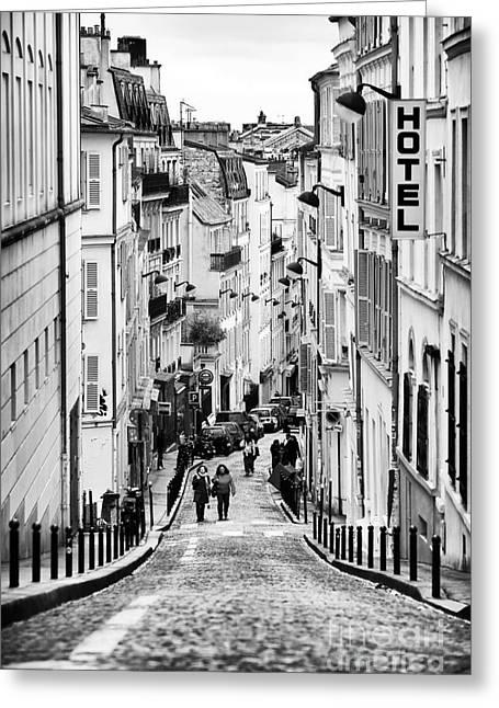 Haut Greeting Cards - Vers le haut de La Rue Greeting Card by John Rizzuto