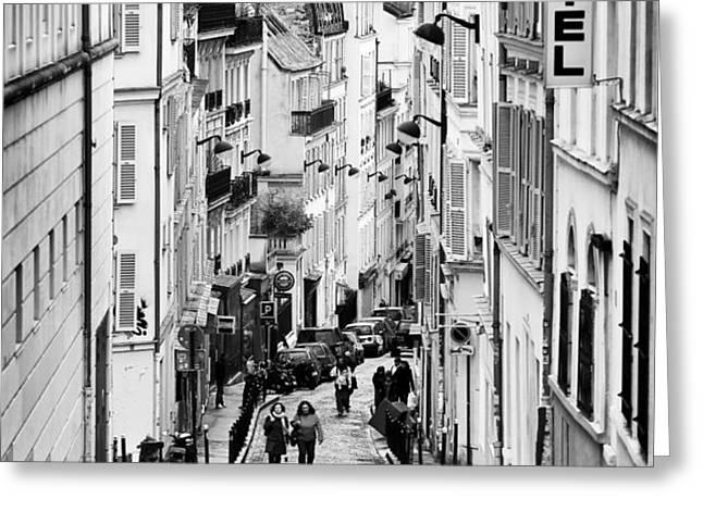 Vers le haut de La Rue Greeting Card by John Rizzuto