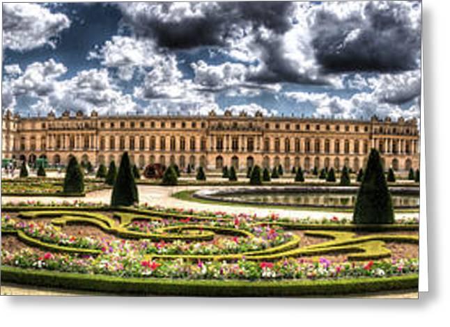 Royal Art Greeting Cards - Versailles palace gardens panorama Greeting Card by Sandra Rugina