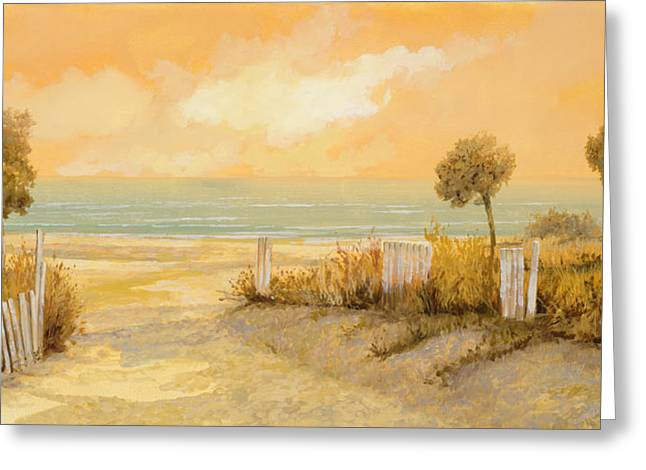 Golden Sand Greeting Cards - Verso La Spiaggia Greeting Card by Guido Borelli
