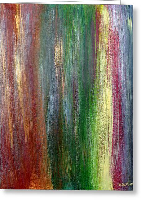 Red Abstracts Greeting Cards - Vertical  Acrylic  Study  Greeting Card by Carl Deaville