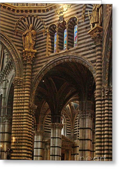 Sienna Italy Greeting Cards - Vertical Pillars Duomo Sienna Greeting Card by Georgia Sheron