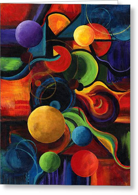 Circles Greeting Cards - Vertical Synergy Greeting Card by Laura Swink