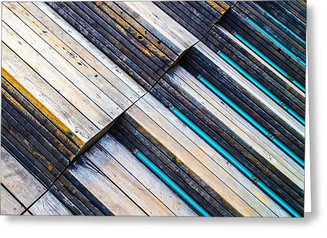 Beige Abstract Greeting Cards - Vertigo Steps Horizontal Greeting Card by Steven Maxx